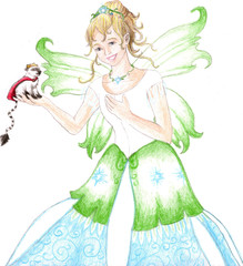 Fairy in formal dress looking at small creature