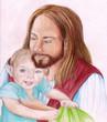 Jesus Christ holding an infant child