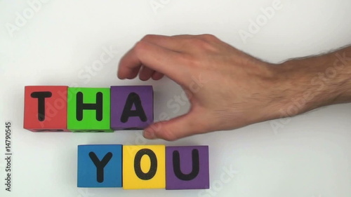 Alphabet blocks spell out THANK YOU - HD