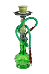 green Hookah on a white background