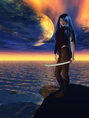 Woman standing on rocks