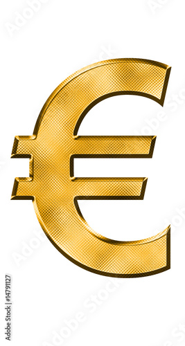 golden euro symbol on white background