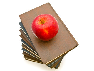 apple near the books