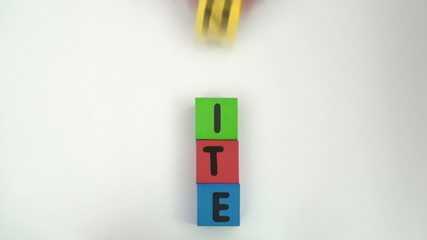 Alphabet blocks spell out UNITE series - HD