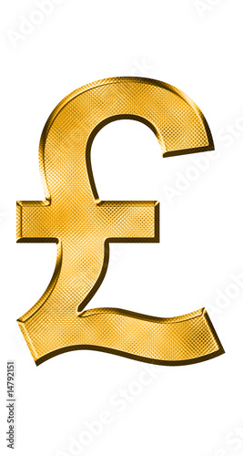 golden pound symbol on white background