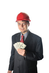 Builderman with money isolated over white