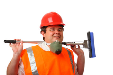 smiling housecleaner with respirator over white isolated