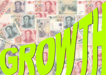 growth text with Yuan
