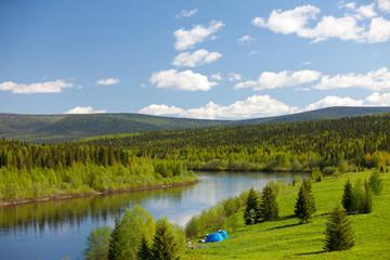 Summer landscape. River Vishera. Ural mountains
