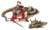 Warrior defeated giant snake, Russian folklore and mythology poster