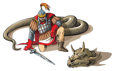 Warrior defeated giant snake, Russian folklore and mythology