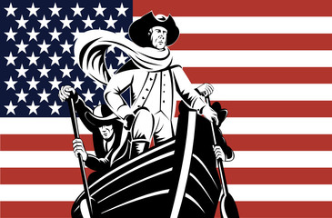 George Washington at the helm with American flag