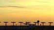 airplane at dusk
