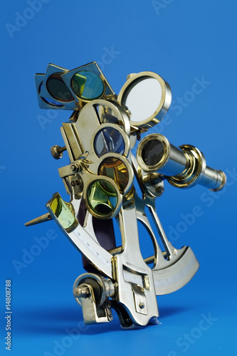Golden Sextant isolated on Blue 2