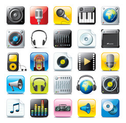 multimedia icons - audio set