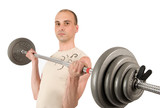 Weightlifting. Man with barbell isolated on white poster