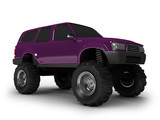 Violet monster truck isolated on white