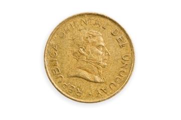 Uruguayan coin isolated.
