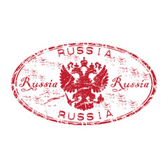 Russia grunge rubber stamp