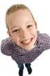 Leinwanddruck Bild - Girl is smiling at you isolated on white background