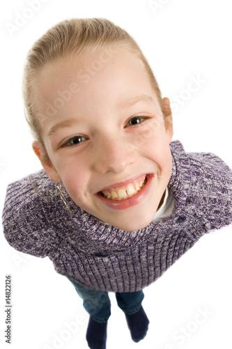 Leinwanddruck Bild Girl is smiling at you isolated on white background