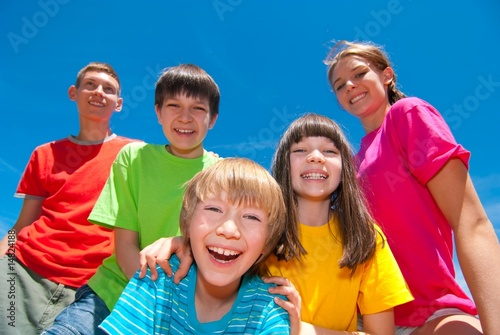 Children in colorful clothes