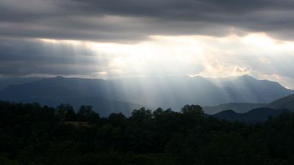 Ray of light in the sky