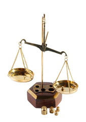 Old scales on a white background