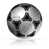 soccer ball on glossy surface. 3D render