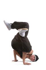 dancer makes a difficult a pose