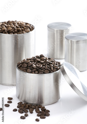 Coffee and grain on white background