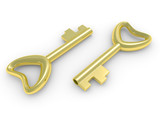 Gold key on a white background