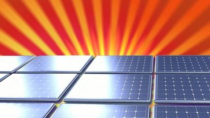 Animation panneaux solaire fond soleil rouge