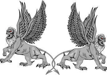 Two mythological griffins.Vector illustration