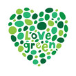 heart made from cut out shapes in green