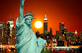 Fototapety The Statue of Liberty and New York City