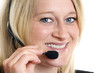 close-up of nice and charming call center agent