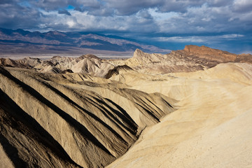 Death Valley Badlands on a Stormy Morning