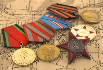 medals on the old map