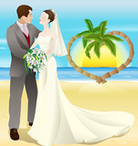 tropical destination beach wedding poster