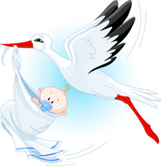 Stork delivering a newborn baby boy