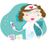 Sexi nurse heal every patient! Art vector Illustration. poster