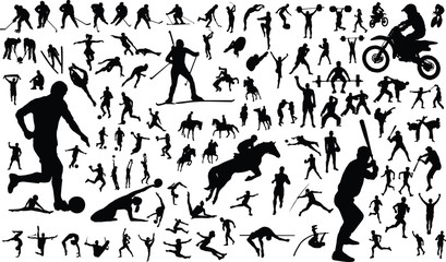 vector silhouettes of people in sports