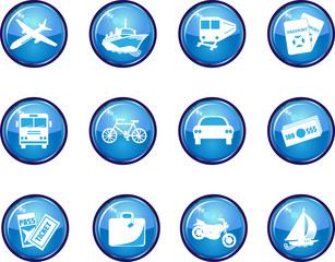 Twelve Glossy Vector Travel Icons.