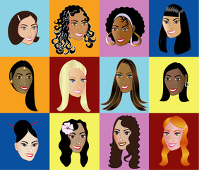 Twelve Different Women Faces different races Colorful Background