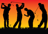 Vector graphic with 4 silhouette golf players