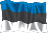 Waving flag of Estonia isolated on white poster