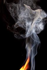 Orange Flame with Smoke Rising
