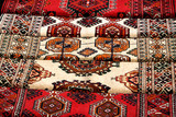 Few handmade carpets with traditional ornament. poster