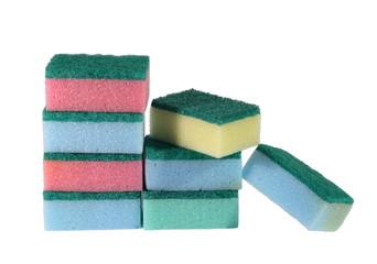 heap of coloured bath sponge, sponge on a white background